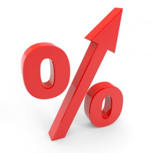Red percentage symbol with an arrow up.